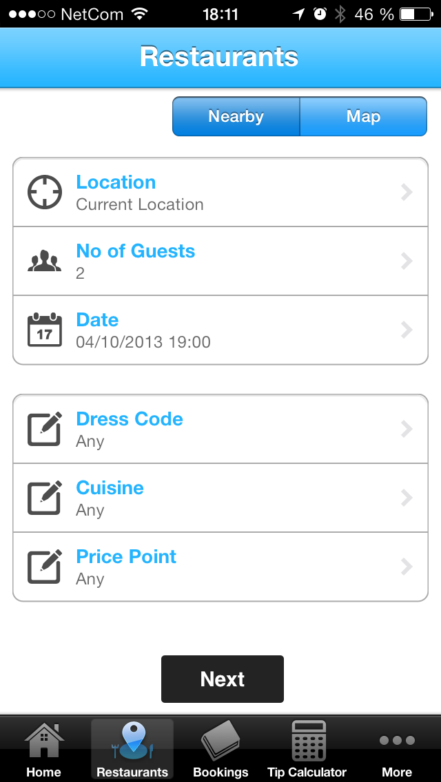Ny versjon av restaurant booking app